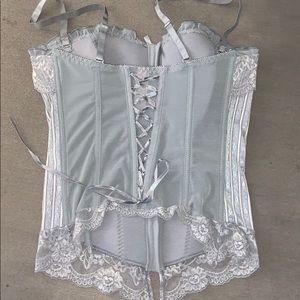 Sophie B corset L lace grey tank sexy lingerie
